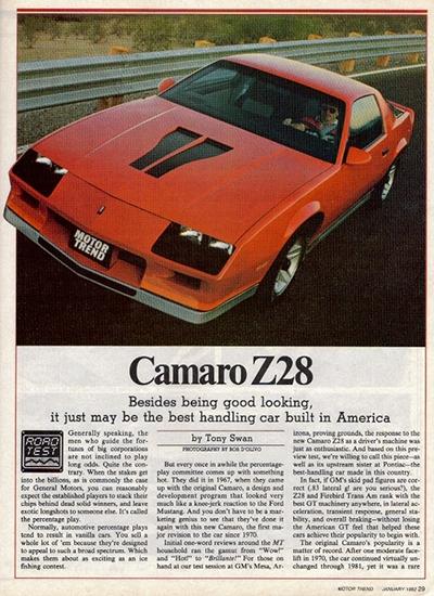 motor trend car of the year retrospect 2016 camaro vs 1982 camaro z28 old car memories. Black Bedroom Furniture Sets. Home Design Ideas